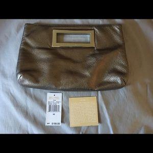Michael Kors Leather Berkley Clutch Gunmetal